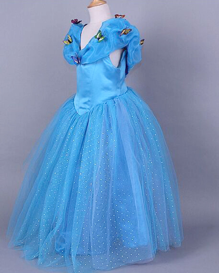 Cinderella 2015 Costumes Girls Dresses Shoes Jewelry: 2015 New Cinderella Kids Dress Blue Princess Girl Dress