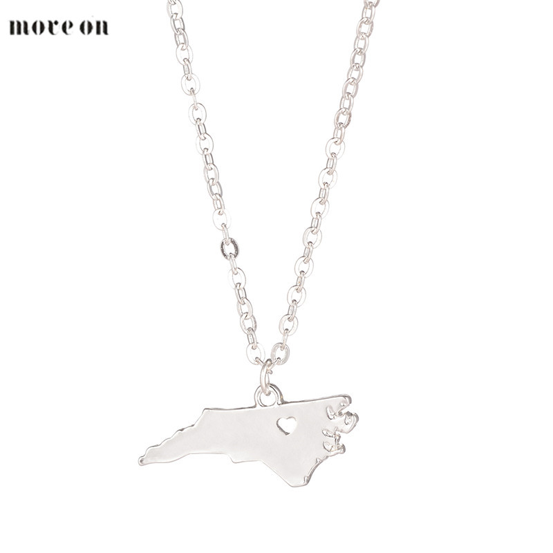 Min 10PCC Hot Sale North Carolina Necklace College Stocking Stuffer Map Home Wanderlust Raleigh Long Chain for Women Men Gift