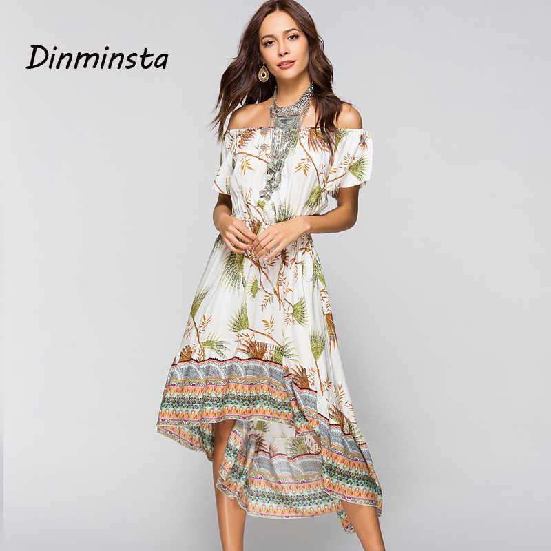 7454450e91c ... Dinminsta Women Summer Off Shoulder Bohemian Dress Boho Wrap Midi  Dresses Casual Loose Beach Floral Print ...