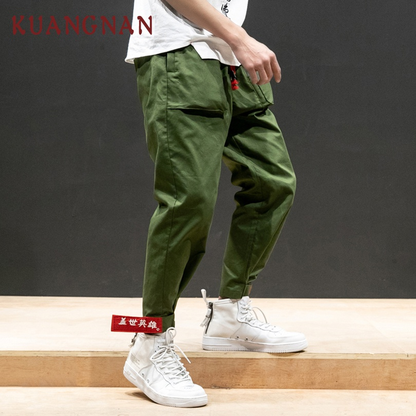 KUANGNAN Trousers Men Pants Japanese Streetwear Chinese-Style Hip-Hop Embroidery