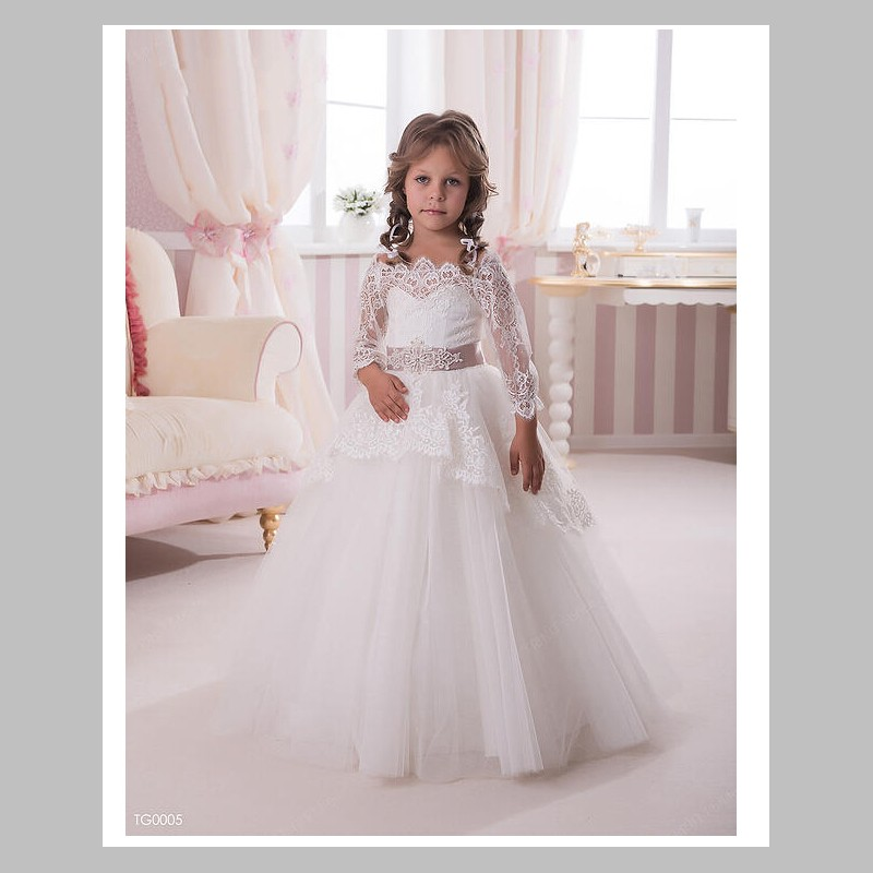 9d0027ba0 Fashion lace first communion dress vintage ball gown scoop neckline long  noble ivory lace flower girl dresses with long sleeve