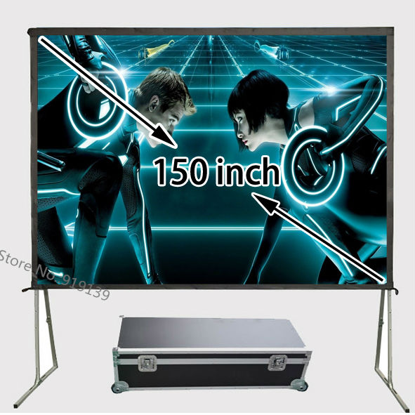 Huge HD <font><b>Screen</b></font> <font><b>150</b></font> <font><b>Inch</b></font> 4:3 Foldable Outdoor Front Projection Movie <font><b>Projector</b></font> <font><b>Screens</b></font> With Carry Flight Case For Outdoor Display image