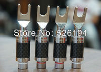 Free shipping ACROLINK CF 201 Carbon Fiber Series Top rated Carbon Rhodium Plated Fork SPADE PLUG CONNECTOR adapter