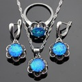 ASHLEY Flower Blue Opal Silver Color Bridal Jewelry Sets For Women Necklace Pendant Drop Earrings Rings Christmas Free Gift Box