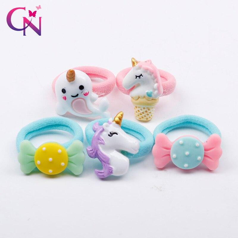 CN 5 Pcs/lot Hair Accessories Kids Hair Band Nylon Elastic Hair Rope With Rabbit Ears Crown Stars Heart Glitter Scrunchie Band