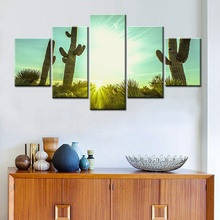 Drop Shipping The Cactus in the Desert 5 Pieces Modular High Quality Picture Canvas Painting Wall Art for Living Room Decor Gift