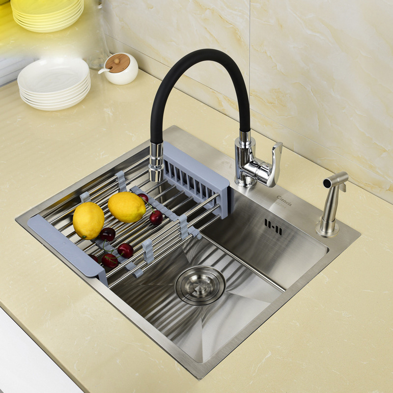 Steel Wire Drawing Meal Kitchen Sink Thickening 3 Mm Manual Trough The Single Slot Basins Sink In The Kitchen BOWL
