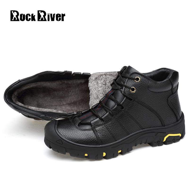 2018 Genuine Leather Men Boots Winter Shoes Men Waterproofs Fur Ankle Plush Warm Snow Boots Men High Quality Mens Winter Shoes ...