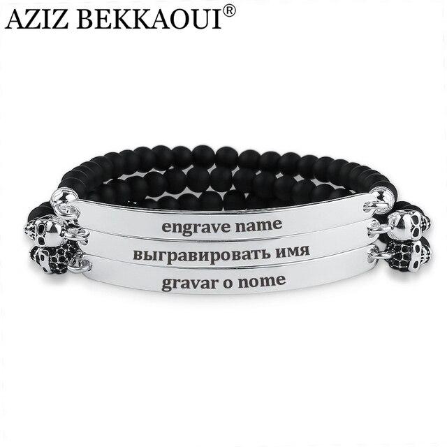 45da2ae150cf5 AZIZ BEKKAOUI ónix cuentas encanto pulseras para Mujeres Hombres Acero  inoxidable pulsera Marca Diseño personalizado grabado