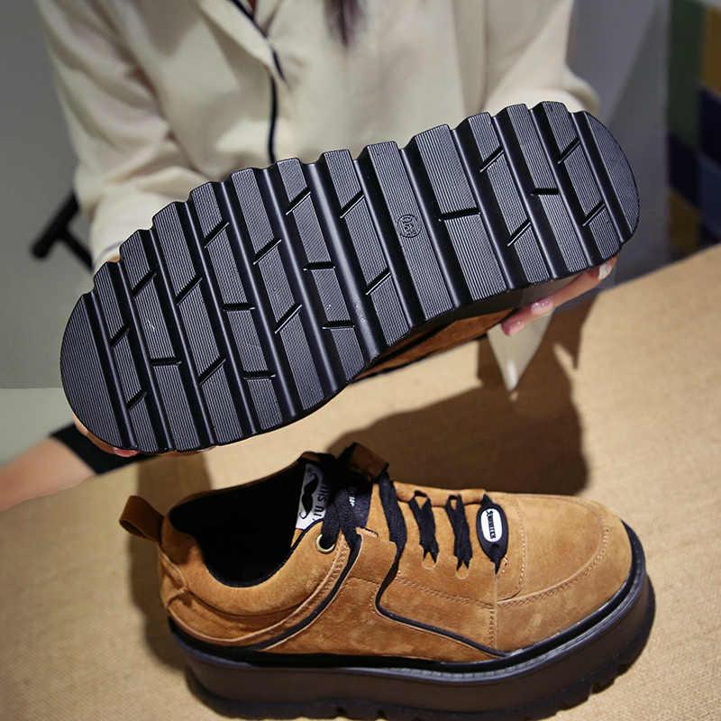 Aphixta plate-forme à lacets cheville chaussures d'hiver femmes bottes de haute qualité hauteur augmentant dames chaussures vache daim bas botte de mode