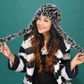Outono inverno Super quente inverno mulheres genuine Rex coelho muffs da orelha da pele chapéu de pele de coelho Rex cap lady luxur fita faixa de cabelo