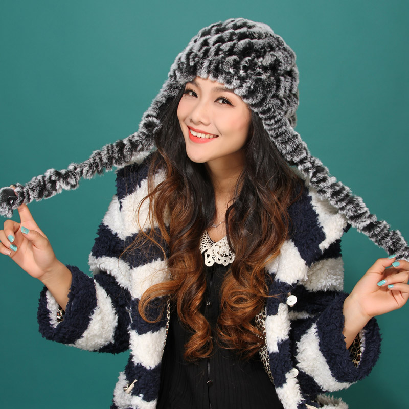 autumn winter Super warm winter women genuine rex rabbit fur ear muffs Rex Rabbit cap lady luxur fur hat hair band ribbon