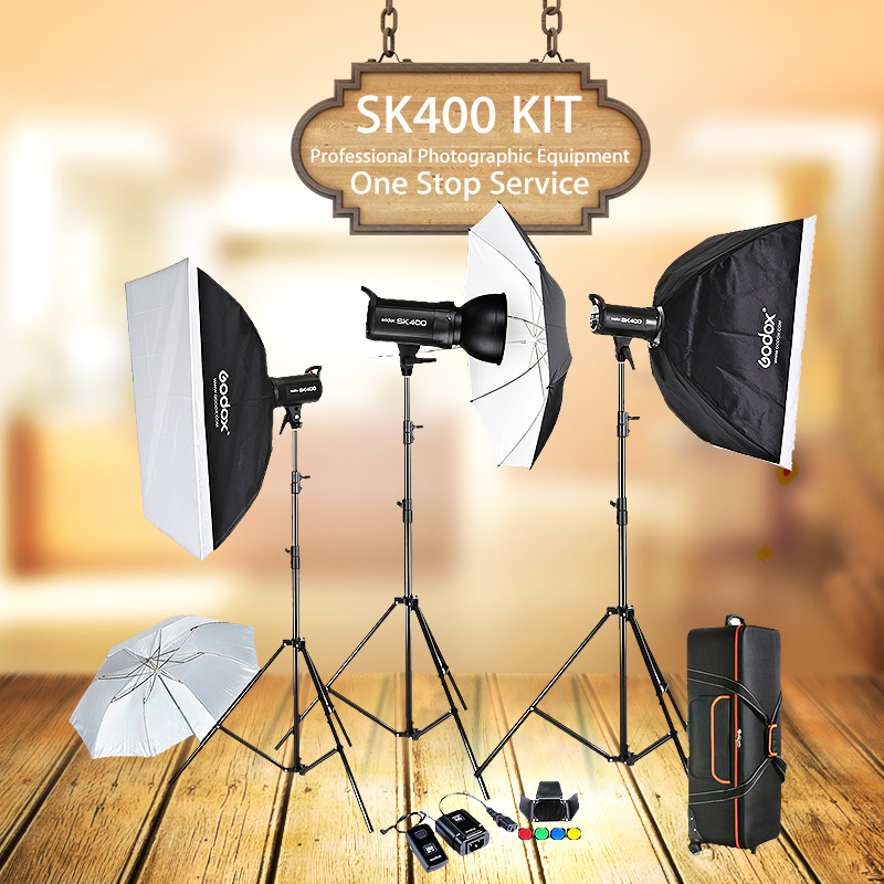 Godox SK400 3 x 400W Compact Photo Studio Flash Lighting set Digital Photography Strobe Light & Softbox Portrait Kit