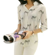 hot deal buy summer women long sleeve horse printed chiffon shirts fashion slim blouses shirts blusas