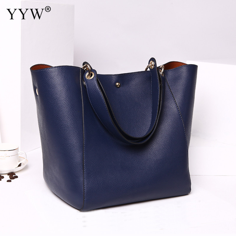 Blue PU Leather Handbag Lady's Tote Bag Luxury Women Black Large Capacity Shoulder Bags Hot Sale Solid Color Top-handle bags 2016 hot sale fashion luxury handbags women large capacity casual bag ladies pu leather office tote bags bolsos feminina s 6