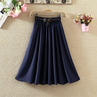 New Women Skirts Gift Belt Luxury Solid Color Elastic Waist Imitated Silk Womens Skirts Summer Spring Long Woman Bubble Skirt