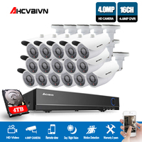 16CH HD 4MP CCTV System 16pcs 4MP Security Cameras Outdoor Waterproof IP66 night vision CCTV Surveillance Kit Hard Disk optional
