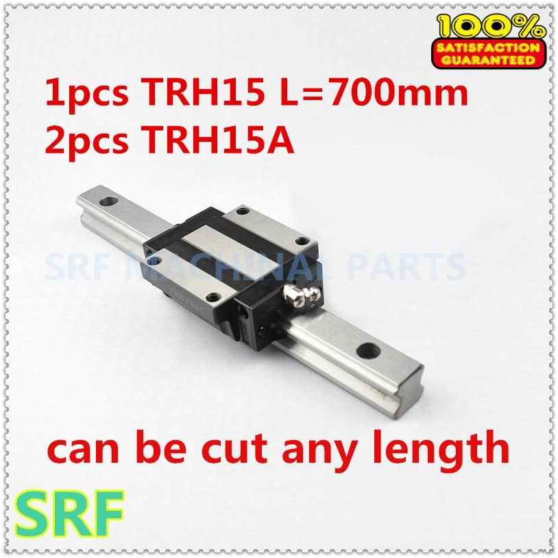 High quality 15mm width CNC Linear Guide Rail 1pcs THR15  L=700mm with 2pcs TRH15A  Carriges slide block high precision 1pcs linear guide 20mm trh20 l 1000mm linear rail 2pcs trh20b slider block bearing linear guide rail for cnc