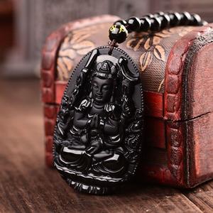 Avalokitesvara кулон «Бодхисаттва» ожерелье для женщин и мужчин черный Обсидиан Резной Будда счастливый амулет кулон ожерелье ювелирные изделия