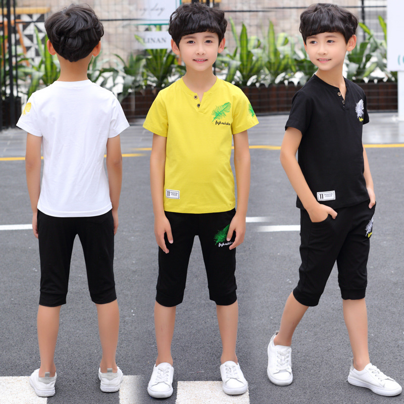 2019 Toddler Boy Summer Clothes Set  Boys Clothing Kids Children Maple Leaf T-shirts + Shorts Child Suits 2pcs