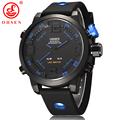 OHSEN Brand Casual Men Sports Watches 2 Time Zone Digital LED Quartz Fashion Dress Silicone Strap Wristwatch Dive Military Watch
