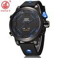 Ohsen marca casual men sports relógios 2 fuso horário digital led quartz vestido moda silicone strap relógio de pulso relógio de mergulho militar