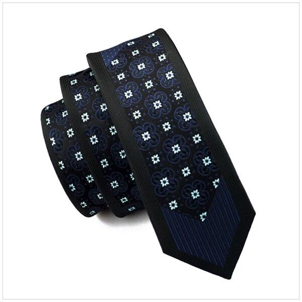 2017 Mode Schlanke Krawatte Schwarz Rahmen Blaue Blumen Dünne Schmale Gravata Silk Krawatten Für Männer 6 Cm Breite Hochzeitskleid E-114 Top Wassermelonen