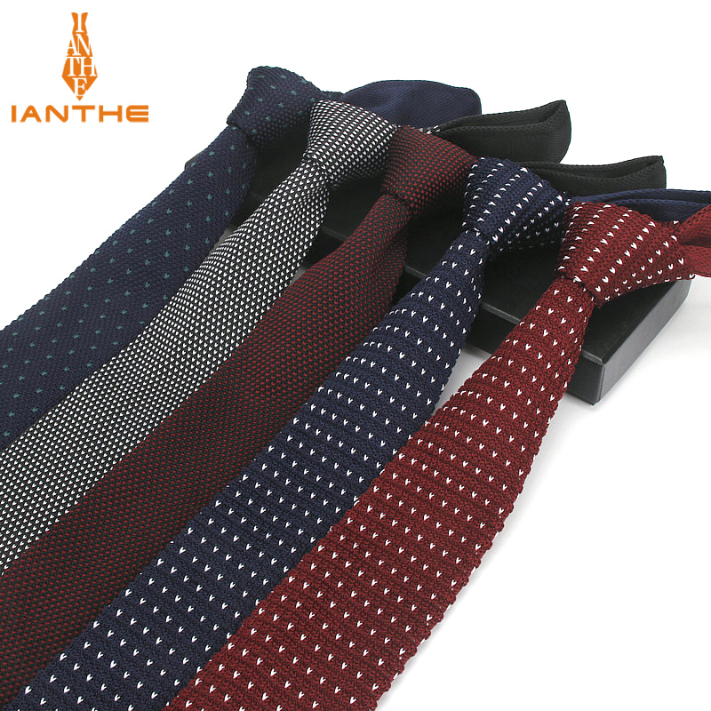 Fashion Navy Slim Neck Tie Wedding Knitted Ties For Men Skinny Ties Man Gravata Polyester Narrow Knitted Brand New 6cm Neckties