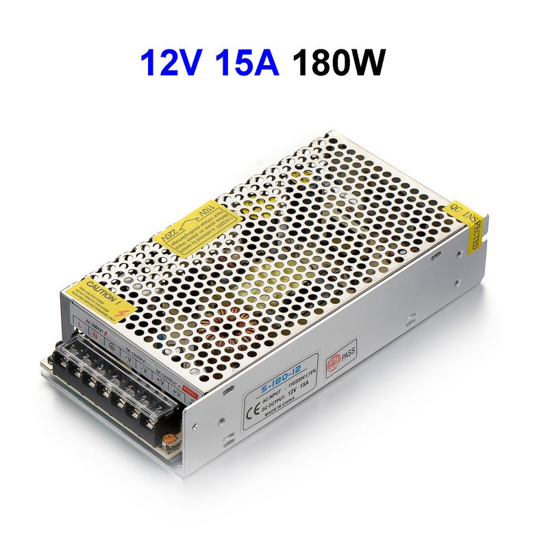 15pcs CCTV Cameras DC12V 15A 180W Switching Power Supply Adapter Driver Transformer For LED Strip Light 90w led driver dc40v 2 7a high power led driver for flood light street light ip65 constant current drive power supply