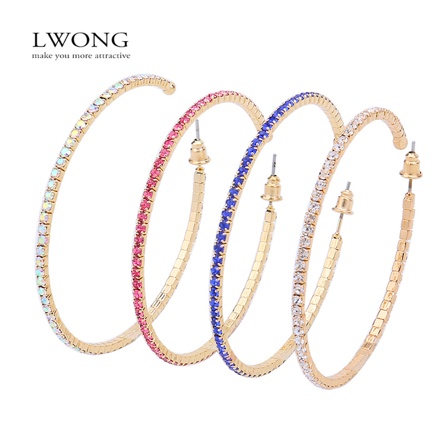 Lwong 4 Colors Pave Rhinestones Large Hoop Earrings For Women Bijoux Clic 5 8cm Gold Color