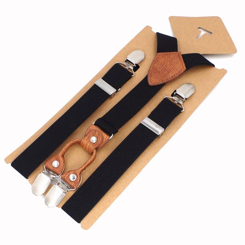 Kids Suspenders 4 Clips Leather Braces Kids Suspensorio Elastic Adjustable Tirantes Bretelles 2.5*75cm New Fashion Design