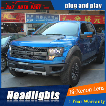 new front light car styling for ford F150 headlights 2009-2014 bi xenon lens led high beam H7 xenon head lamps For F150 led drl