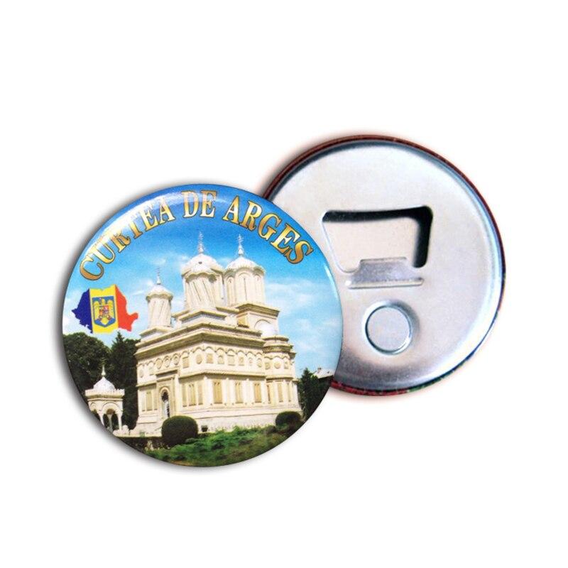50x Printed Full Color Round Tin Plate Bottle Opener Fridge Magnet Corporate Gift Custom Logo Refrigerator