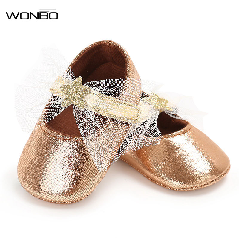WONBO Fashion Bling Princess Baby Shoes Lace Star Infant First Walkers Soft Bottom Toddler Girl Shoes Gold Pink Silver Gold