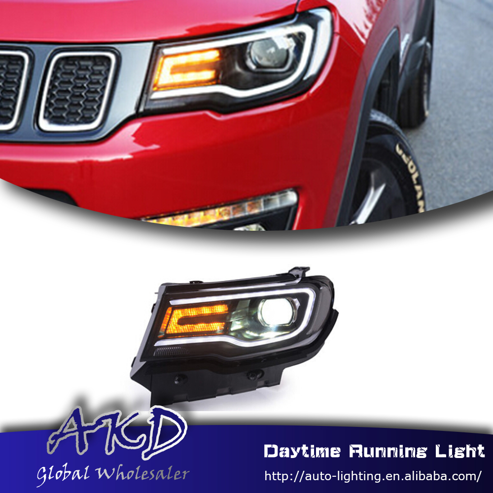 akd car styling led headlight for jeep compass led. Black Bedroom Furniture Sets. Home Design Ideas