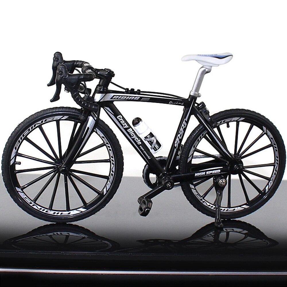 Миниатюрный велосипед коллекция игрушечный мотоцикл моделирование велосипед сплав многоцветный Декор безопасный материал Альпинизм Новинка Велосипед коллекция - Цвет: Bend the car black