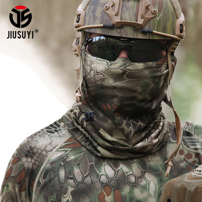 Camouflage Tactical Stretch Airsoft Military Paintball Headband Head Scarf Neck Warmer Half Face Mask Scarves Bandana Wraps