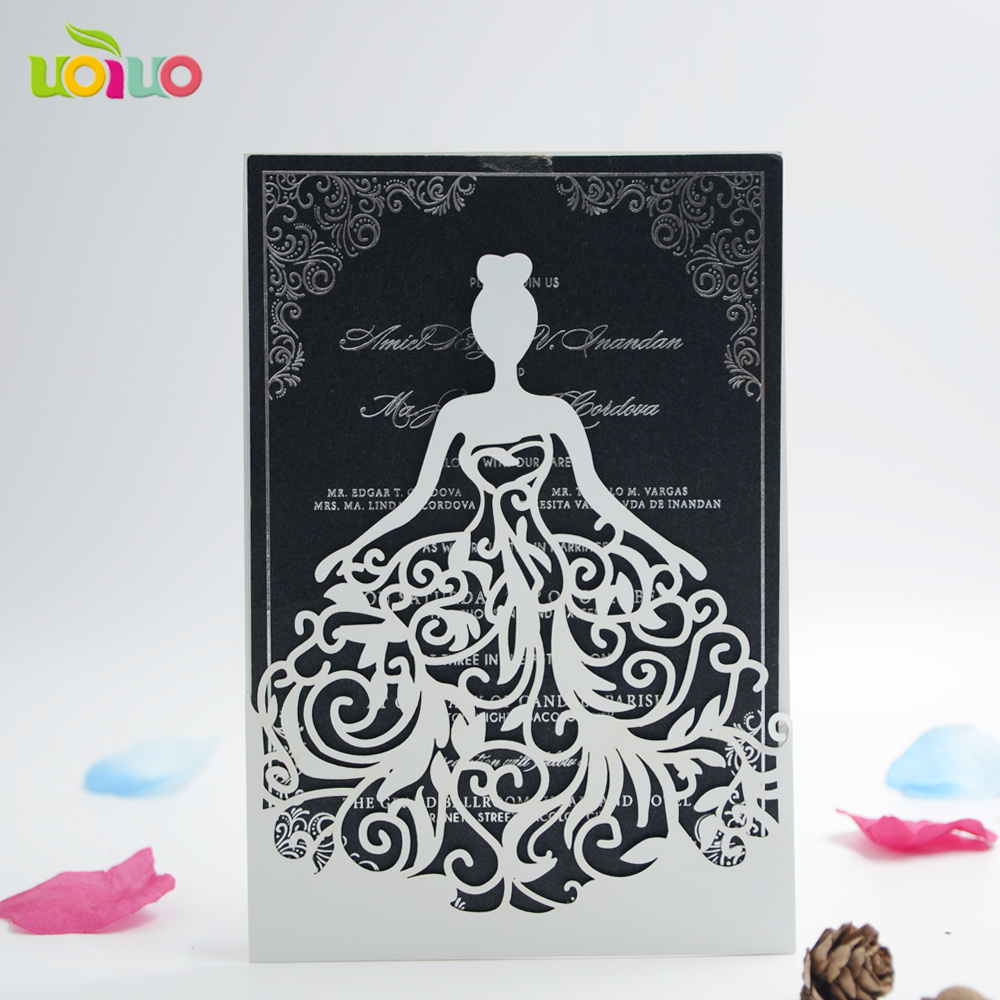 Laser cut wedding invitation cardhigh grade girls for Printing costs wedding invitations