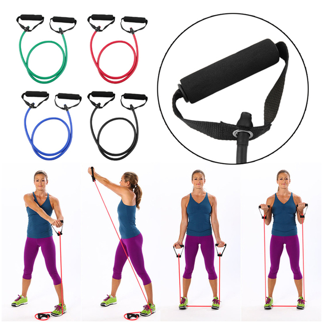 120cm Elastic Resistance Bands Yoga Pull Rope Fitness Workout Sports Bands  Yoga Rubber Tensile Pull Rope Expander banda elastica 5dcbd3d07439