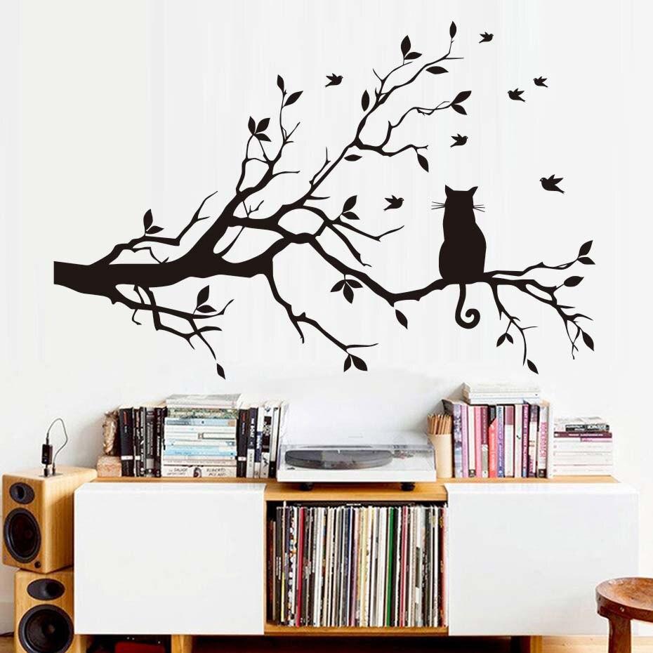 NºDctop moderno Sala extraíble PVC silueta arte pared pegatina gato ...