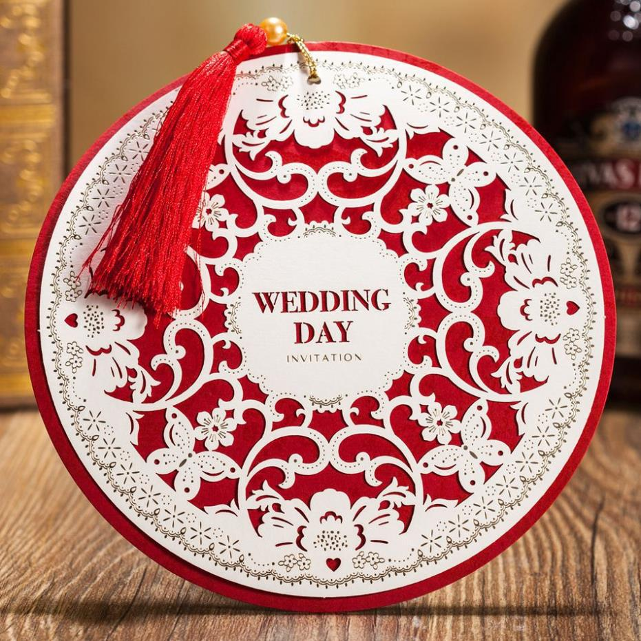 1 pcs sample unique round shaped laser cut wedding invitation marriage card free shipping