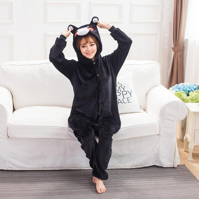 Kumamone Kigurumi Pajamas Adult Cosplay Costume Women Men Onesie Winter Warm Sleepwear Flannel Suit Bear Role Play Girls