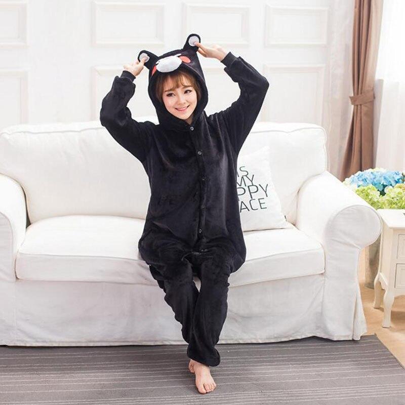 Image 3 - Kumamone Pajama Adult Cosplay Costume Women Men Onesie Winter Warm Sleepwear Flannel Suit Bear Role Play Girls Kigurumi