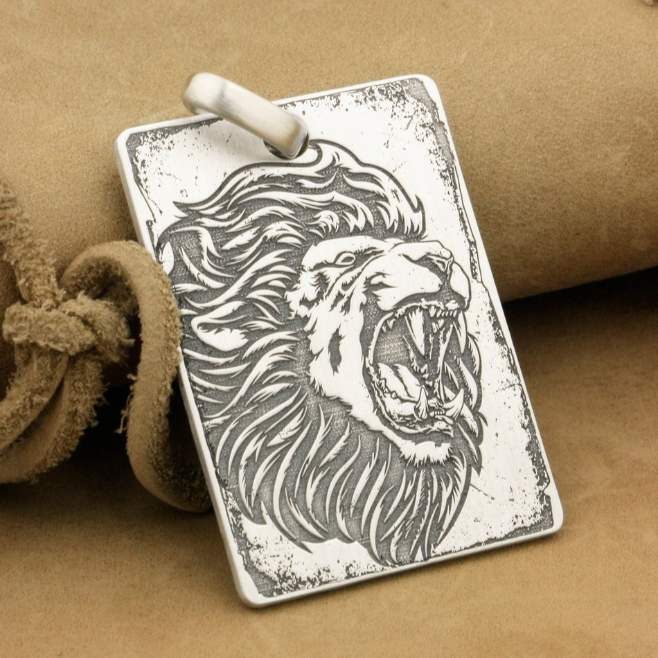 Customizable 925 Sterling Silver Deep Engraved High Detail Angry Lion Dog Tag Mens Biker Rocker Punk Pendant 9X010 JP deep engraved high detail custom solid 925 sterling silver cross mens biker rocker punk dog tag pendant 9x012 jp