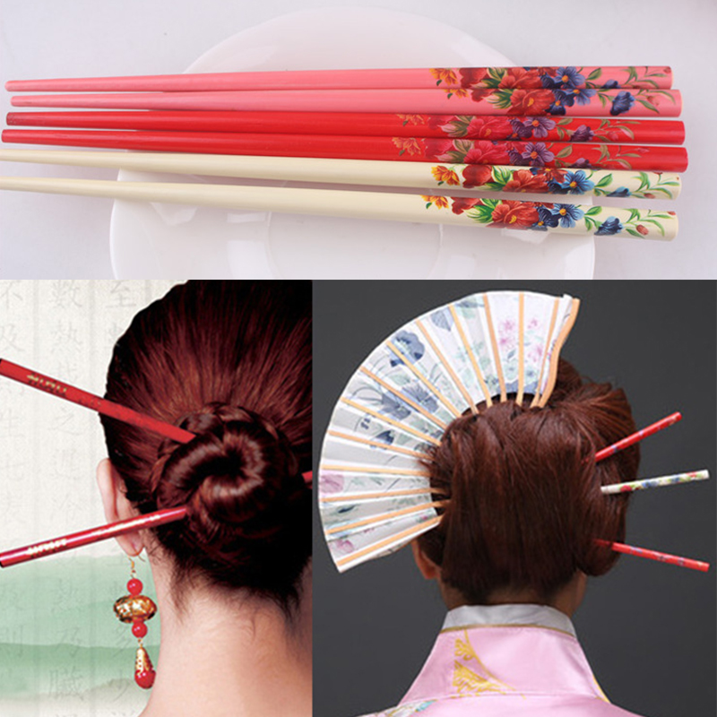 Ethnic Style Handmade Hair Stick 2PCS Vintage Painting Hairpin Colorful Natural Wood Flower Bride Japanese Hairpin Print