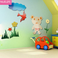 DIY Bear and Bird Animal Mirror Sticker Kids Room Bedroom Living Room Kindergarten TV Sofa Background Decorative Wall Stickers