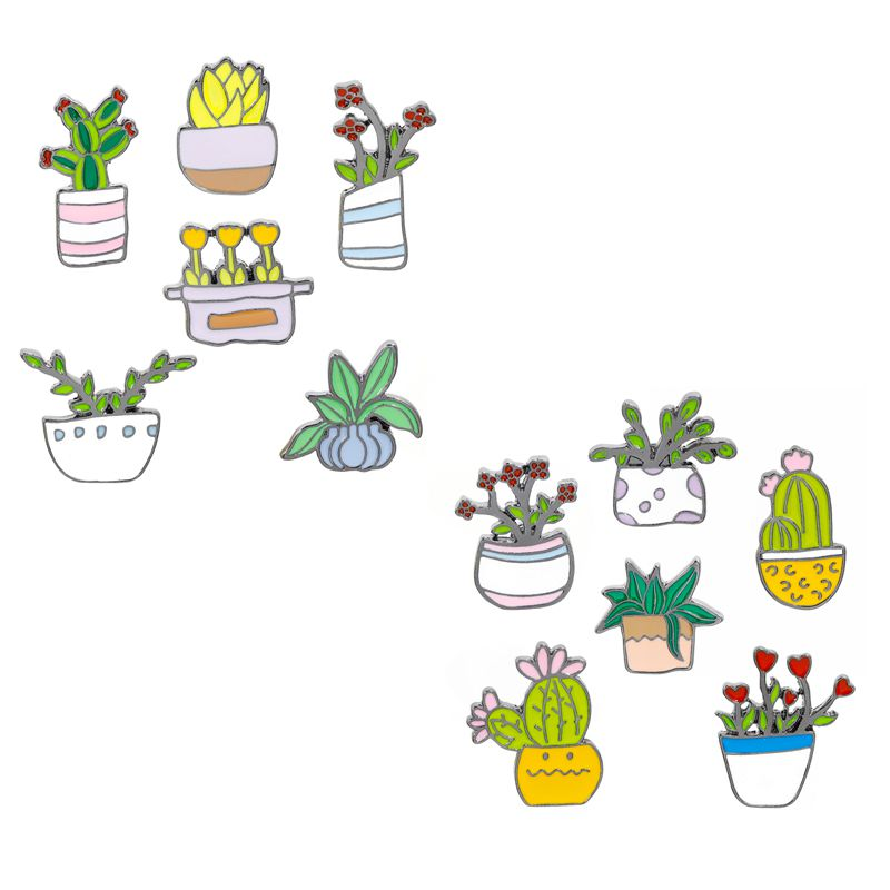 Cactus Pins Collection Succulent Plants Brooches Badges for Plant Lady Jewelry