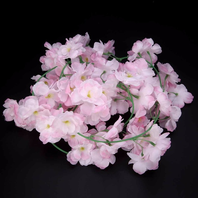 Mayitr 2M Fake Sakura Vines Artificial Cherry Blossom Vine DIY White Pink Wedding Garland for Wedding Party Home Decoration