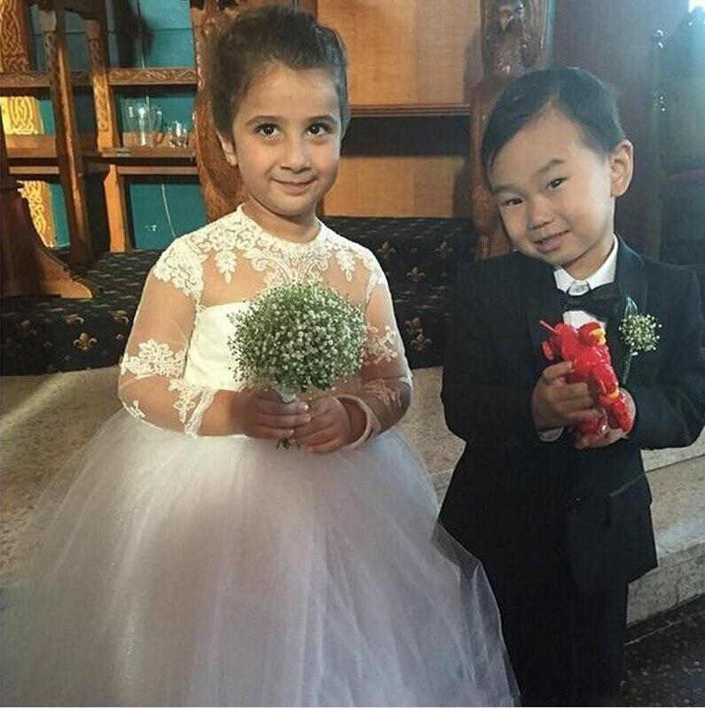 Lovely White / Ivory Little Kids Holy Communion Dresses Long Sleeves ...
