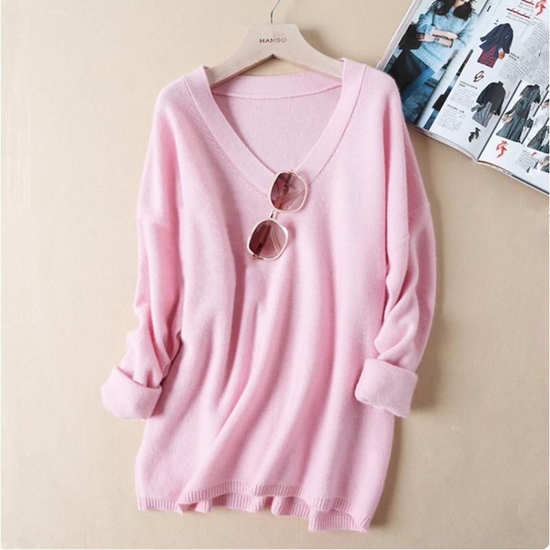 2017 осень зима плюс Размеры свободный свитер Для женщин Мода v образным вырезом пуловер вязаный свитер Топы